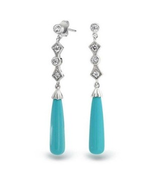 Bling Jewelry .925 Silver Art Deco Style Reconstituted Turquoise Drop Earrings - CO11B9MTTAV