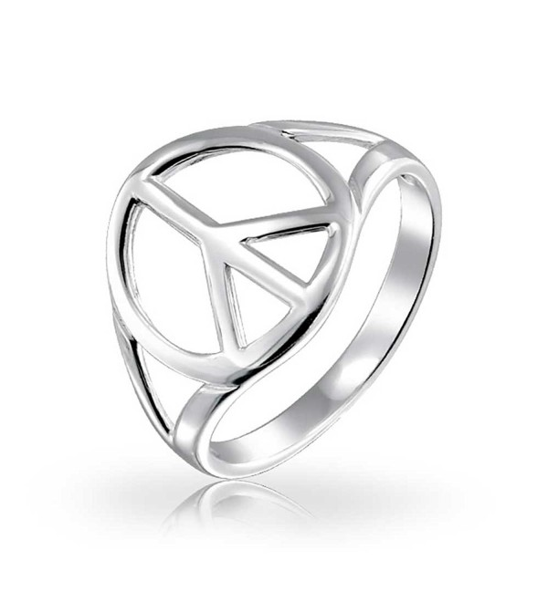 Bling Jewelry Peace Sign Open Symbol Sterling Silver Ring - CF113Z3CPQD