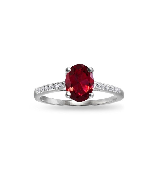 Sterling Silver Created Ruby and White Topaz Oval Crown Ring - CH1852RI3LO