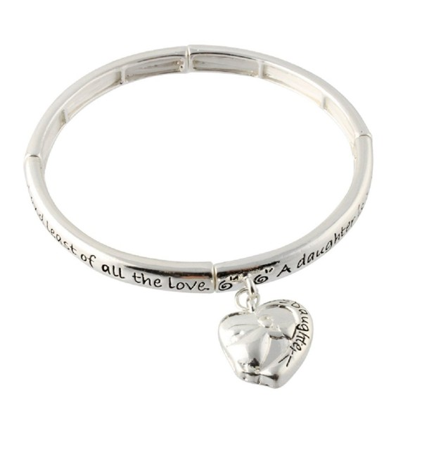 Heirloom Finds Heart Charm Daughter's Blessing Script Stretch Bracelet - CJ11I02H0QT