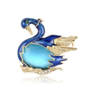 Alilang Swarovski Crystal Elements Ocean Blue Agate Bodied Swan Bird Fashion Pin Brooch - CG119LR4DQR