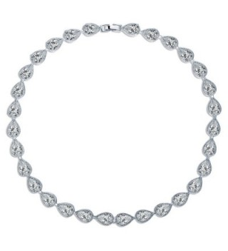 MASOP Women's Silver-tone Clear CZ Cubic Zirconia Pear Shape Teardrop Jewelry - CL12MAL1RXJ
