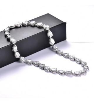 MASOP Silver tone Zirconia Teardrop Necklace in Women's Chain Necklaces