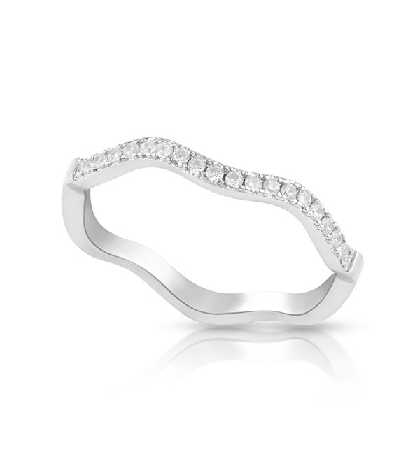 Sterling Silver Simulated Diamond Stackable wave Ring (Size 4 - 9) - C9125R1HQ69