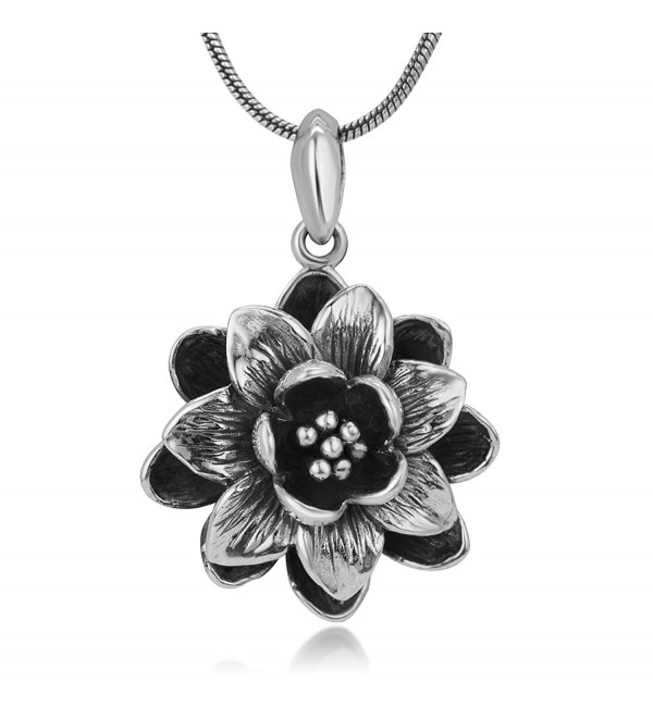 "925 Oxidized Sterling Silver 3-D Antique Blooming Lotus Flower Detailed Pendant Necklace 18"" - CY12NUJIJ04"
