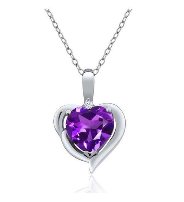 1.42 Ct Heart Shape Purple Amethyst 925 Sterling Silver Pendant - CZ128Z09EE1