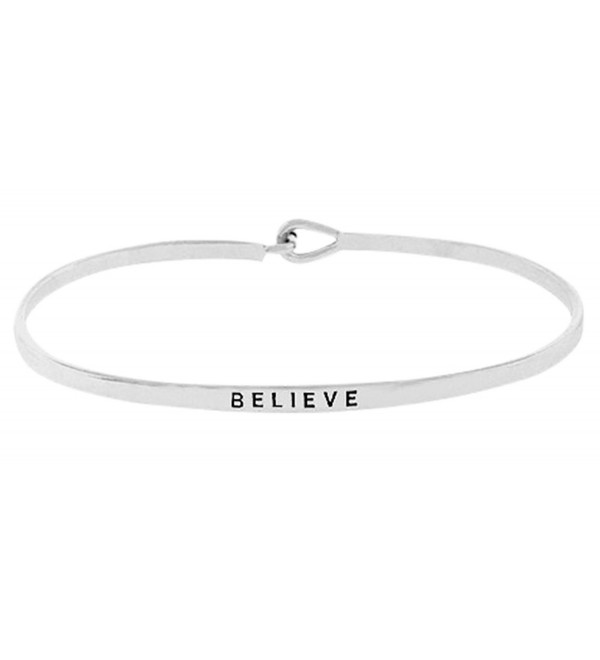 "Inspirational ""BELIEVE"" Silver Tone Positive Message Engraved Thin Brass Bangle Hook Bracelet - CE12NTLFCK8"