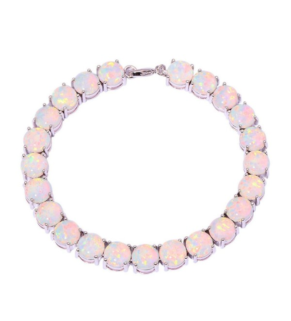 CiNily Created Blue White Fire Opal Rhodium Plated for Women Jewelry Gems Round Bracelet 8'' - White - CP12MJYTQJ7