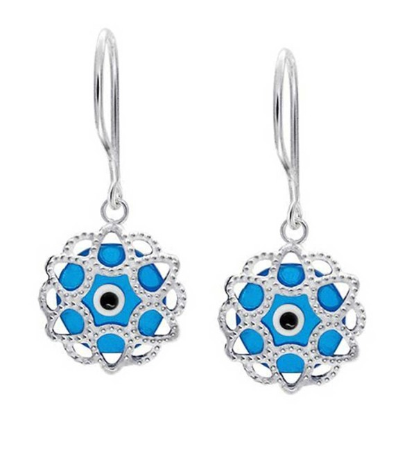 Bling Jewelry .925 Silver Blue Evil Eye Filigree Drop Earrings - CC11770R8E9