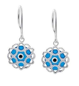 Bling Jewelry .925 Silver Blue Evil Eye Filigree Drop Earrings - CC11770R8E9