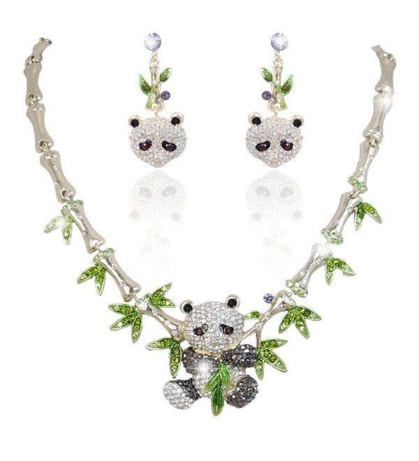 EVER FAITH Gold-Tone Panda Bamboo Necklace Earrings Set Clear w/ Green Austrian Crystal - CN11BGDLZBZ