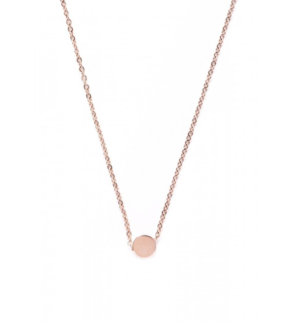 Circle Pendant Necklace Rose Gold | Minimalist Necklace with Round Charm - CW12MYUNW74