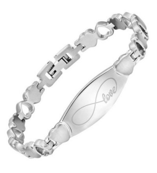 Infinity Love Heart Titanium Bracelet Engraved I Love You Adjustable Gift Box Included by Willis Judd - C412BJJM6QN