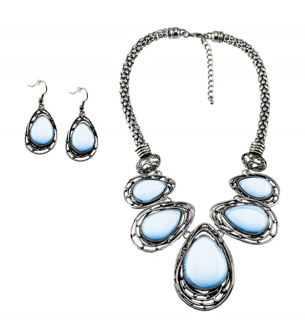 Graduated Teardrop Cabochon Stone BIB Necklace set Matching Earrings - Opal - CT129AXU4ZJ
