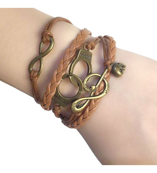 Wild Wind (TM) Valentine Retro Infinity Music Sign Braided Brown Multilayer Bohemia Hand Rope Bracelet - CP12C5H9NCX