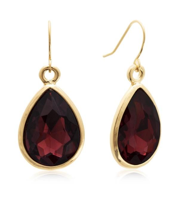 Sparkle Bargains Women's Fashion Faceted Pear Shape Teardrop Dangle Wire Hook Earrings - Red - C3127YDMRHV