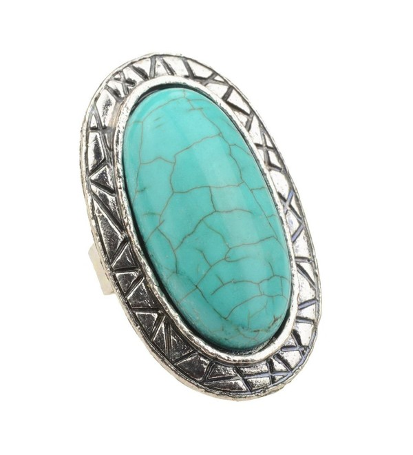 SUMAJU Artificial Compressed Turquoise Ring Adjustable Oval Finger Rings for Women - Turquoise 3 - CH12O91C0PH