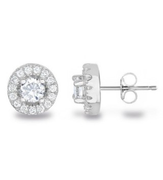 Sterling Silver Cubic Zirconia Classic Halo Stud Earrings AAA Quality - C7122JHHGGJ