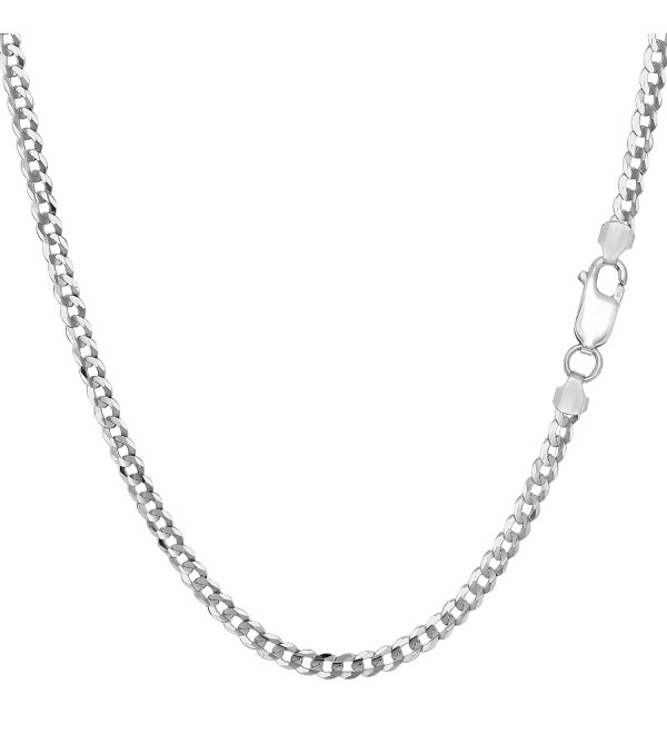 Sterling Silver Rhodium Plated Curb Chain Necklace- 3.0mm - CO1150Z8ZMR