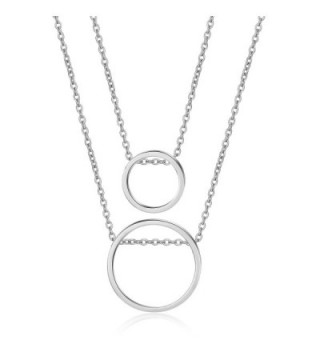 LILIE&WHITE Women Double Chain Through Circle Layer Pendant Necklace Fashion Jewelry - Imitation Rhodium - CB17YQIMCXS