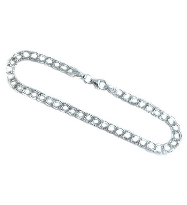 4mm Double Link Charm Bracelet. Italian .925 Sterling Silver. 6-7-8 inches - CL11T7OUJQH