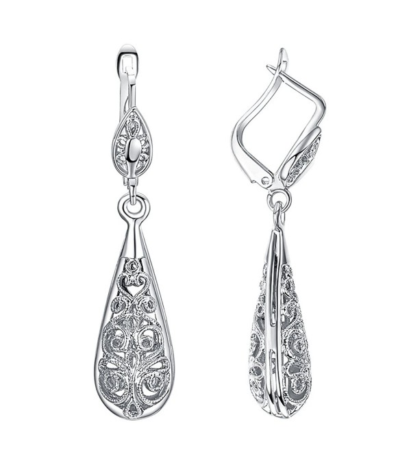 Yoursfs Filigree Teardrop Dangle Earrings Vintage Leverback Earrings 18K Gold Plated Fashion Jewelry - White gold - CZ11DLMM725