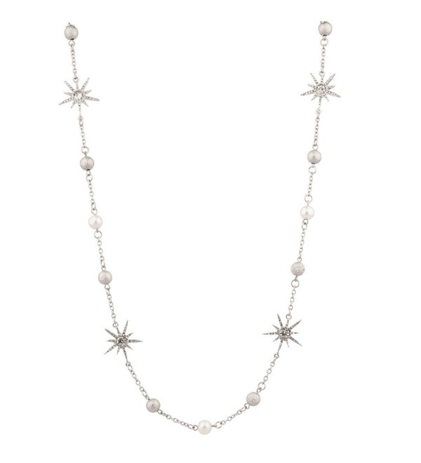 Lux Accessories imitation Pearl Pave Ball Crystal Sun Star Chain Statement Necklace - CE11WNX4I8T