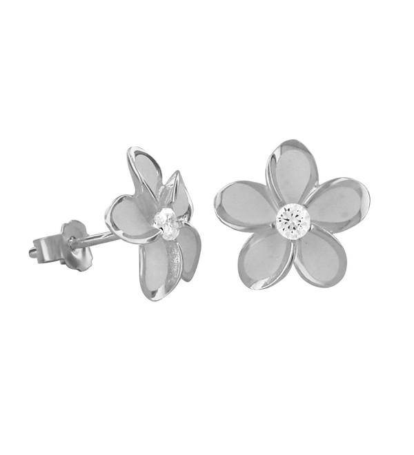 Rhodium Plated Sterling Silver 11mm Plumeria Stud Earrings - C1117WLTV8J