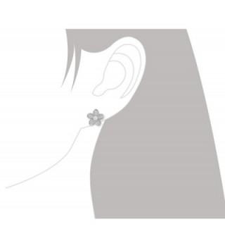 Rhodium Sterling Silver Plumeria Earrings in Women's Stud Earrings