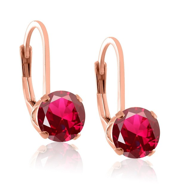 Rose or 14K Gold Overlay & Rhodium Plated Sterling Silver 5mm Round Created Gemstones Leverback Earrings - C811YR21CBZ