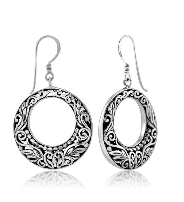 925 Sterling Silver Bali Inspired Flora Design Open Filigree Round Hoop Dangle Earrings - CS11W4IWWVN