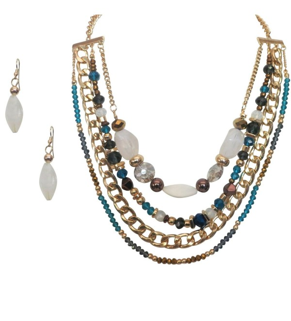 Goldtone Chain Multilayered Crystal Glass Blue Statement Necklace Earring Jewelry Set for Women - CD125SLR6C7