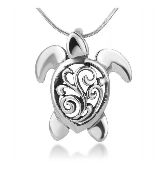 925 Oxidized Sterling Silver Open Filigree Sea Turtle Tortoise Pendant Necklace- 18 inches Chain - C212O0RUVW8