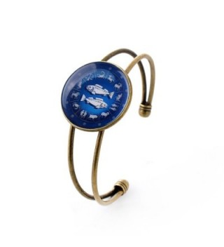lureme Time Gem The Zodiac Series Disc Cuff Bangle Bracelet for Women and Girl (BL003) - CS12MZSPDC2