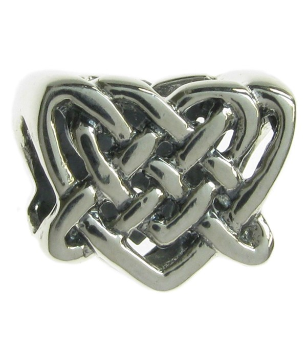 Sterling Silver Celtic Love Knot Heart Bead for European Charm Bracelets - C31180W3PNV