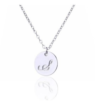 AOLO Small Script Initial Necklace Silver Initial Disc Necklaces - CL11W12QTMF