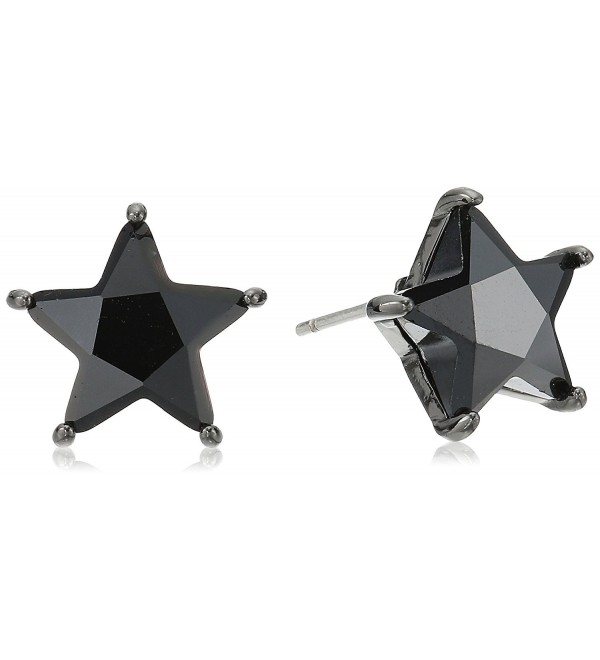 Betsey Johnson Cubic Zirconia Star Stud Earrings - Black - CT185UX9237