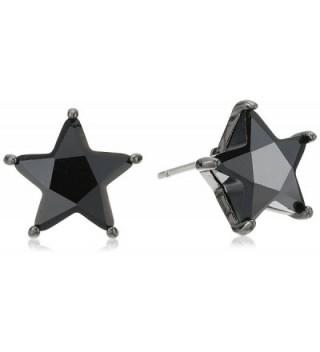 Betsey Johnson Cubic Zirconia Star Stud Earrings - Black - CT185UX9237