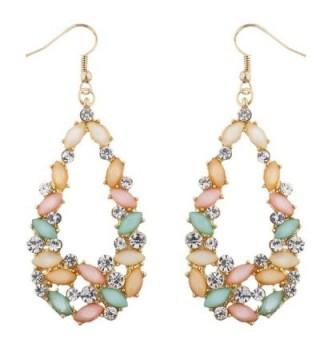 Lux Accessories goldtone Cluster Multicolor Rhinestone Teardrop Shape Earrings - CL12O1WE5J8