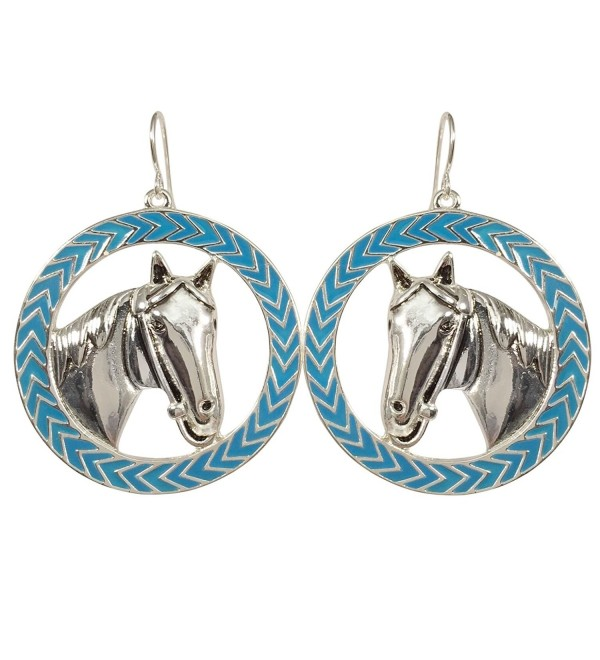 Horse Head Blue Chevron Circle Western look Siver Tone Dangle Drop Earrings - C312N22ZHU7