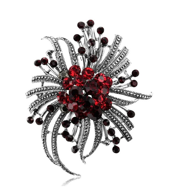 Brooch Pin by DoubleAccent Austrian Crystal Flower Brooch Pin Pendant- Choice of Colors - red - CH12N1YIBY2