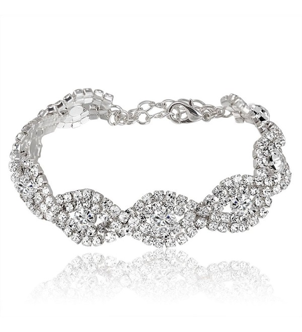 Miraculous Garden Crystal Rhinestone Bracelet - Silver Plated White Crystal - CK12H11WNZ7