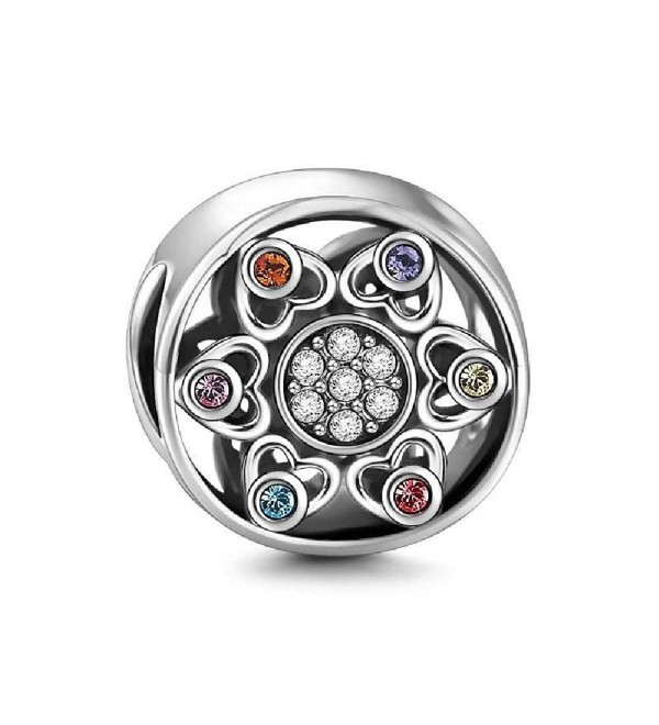 SOUFEEL Multicolor Flower Charms Sparkling Shinning Charm 925 Sterling Silver Fit European Bracelet - C112MAA1M8V