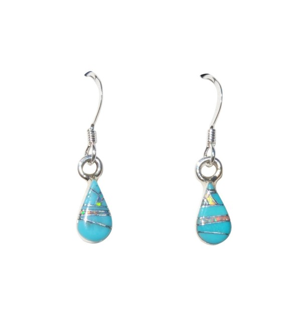 Extra Small Handcrafted Tear-drop Shape St. Silver Inlaid Stabilized Turquoise Created Fire Opal Earrings - CC1290MD3AN
