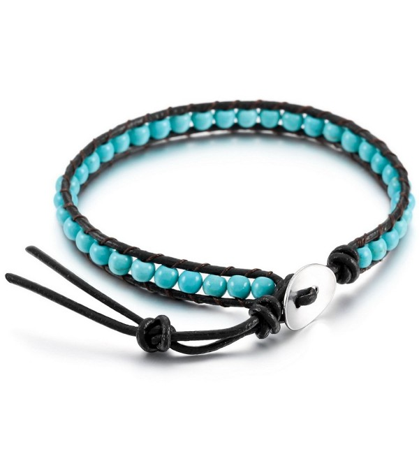 MOWOM Alloy Genuine Leather Bracelet Bangle Cuff Rope Bead Wrap Adjustable - 02.blue - CY12NTTFBF8