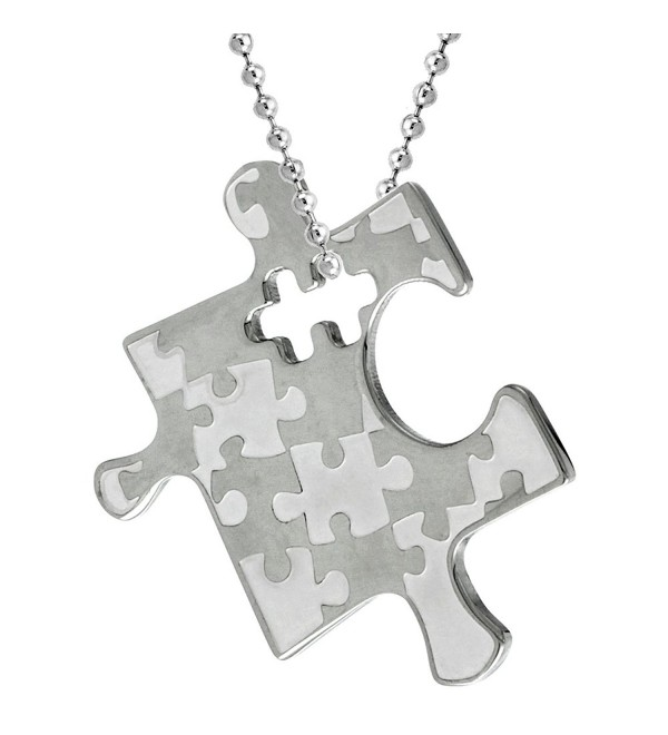 Stainless Steel Autism Awareness Puzzle Piece Pendant 1 1/8 tall - C4110PR2HPV
