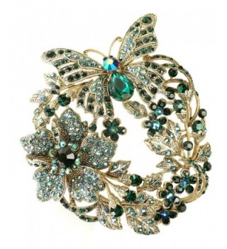 Bejeweled Christmas Large Blue Green Butterfly Flower Brooch Pin 131 - CL11Z51XKQ7