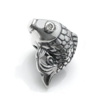 Antique 925 Sterling Silver Clear Cz Crystal Good Luck Koi Carp Cyprinoid Fish Bead For European Charm Bracelets - CZ11N2PTQ4N