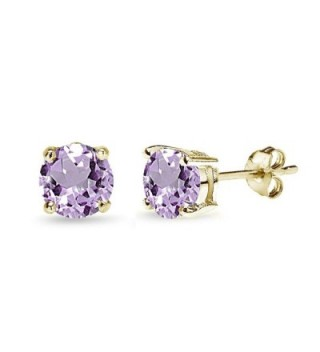 Sterling Silver Amethyst Round-Cut Solitaire Stud Earrings- All Sizes - 7mm - Gold Flash Silver - CN12J35SBMX