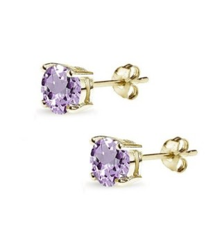 Sterling Amethyst Round Cut Solitaire Earrings